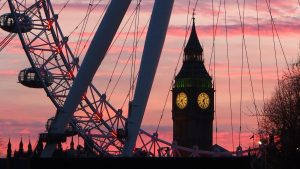 Tramonto sul London Eye e il Big Ben
