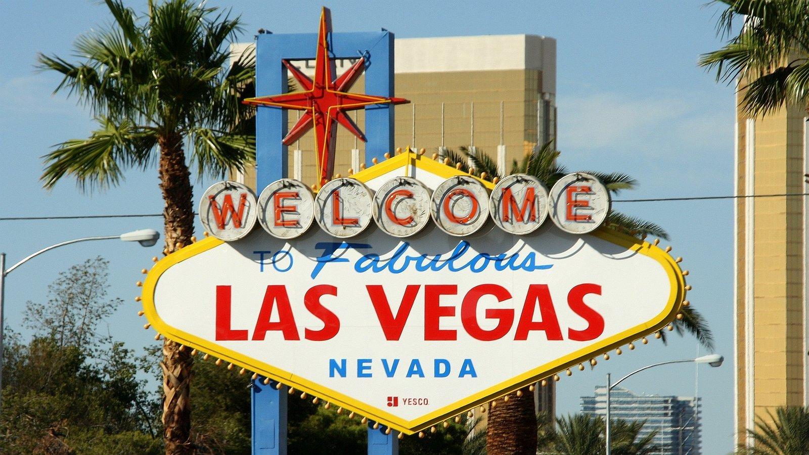 Tour negli Stati Uniti d'America cartello di benvenuti a Las Vegas